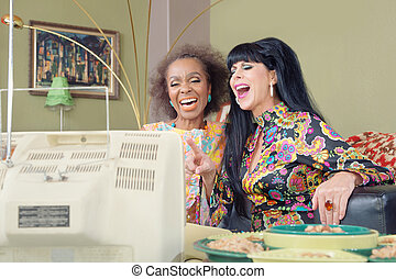 Cute Retro Ladies Laughing - 1960s style women laughing ...