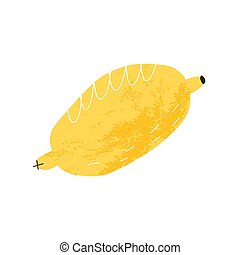 Cute retro lemon with texture. Cartoon style fruit hand-drawn isolated illustration.