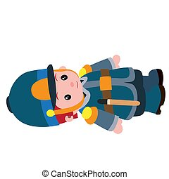 cute retro policeman character, cartoon illustration, isolated object on white background, vector illustration,