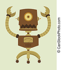 cute, retro, robô, caricatura