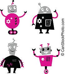 cute, retro, robôs, jogo, isolado, branco, (, cor-de-rosa, e, pretas, )