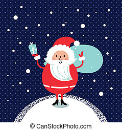 Cute retro Santa isolated on winter night snowing background