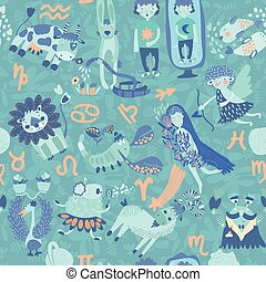 Cute retro seamless pattern with horoscope.Aries, taurus, gemini,cancer,leo,v irgo,libra,scorpio, sagittarius, capricorn, aquarius, pisces