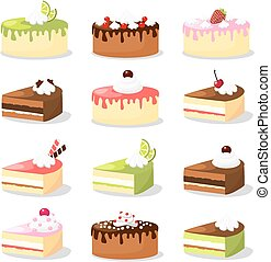 Cute retro set of various cakes  with cream and fruit, vector