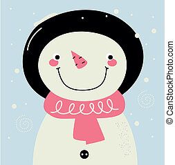 Cute retro Snowman with pink Scarf on snowing background