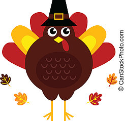 Cute retro thanksgiving turkey with hat isolated on white - ...