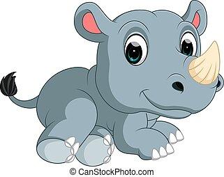 cute rhino Cartoon - illustration of cute rhino Cartoon