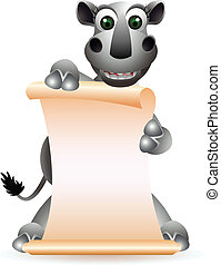 cute rhino cartoon with blank sign