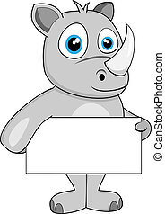 cute rhino holding blank sign