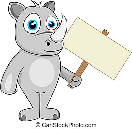 cute rhino holding wood sign