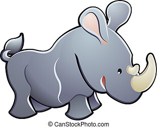 Cute Rhino Vector Illustration - A cute rhino rhinoceros...