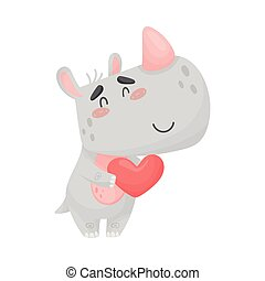 Cute rhino with a heart. Vector illustration on white background.