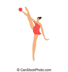 Cute rhythmic gymnast girl in red dress with the ball. Vector illustration in the flat cartoon style