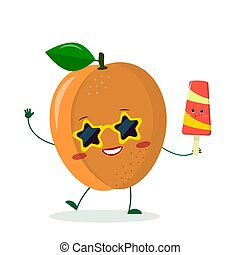 Cute ripe apricot character in sunglasses star in the hands of a colorful ice cream. Logo, template, design. Vector illustration, flat style