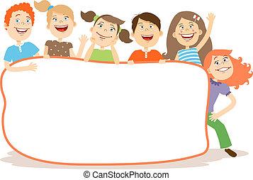 cute, rir, crianças, ao redor, um, painél publicitário, com,...