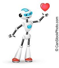 cute, robô, coração