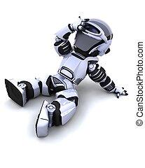 cute, robô, cyborg, descansar, sol