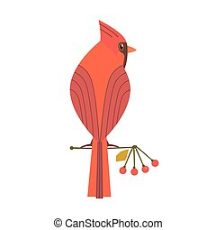 Cute Robin bird icon - Cute Red Northern cardinal icon....