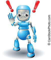 Cute robot character caution - A cute blue robot character...