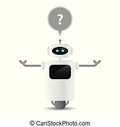 cute robot character has a question