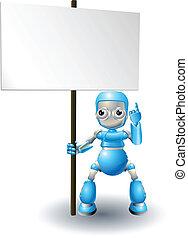 Cute robot character holding sign - A cute blue robot ...