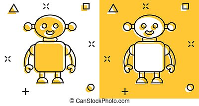 Cute robot chatbot icon in comic style. Bot operator cartoon vector illustration on white isolated background. Smart chatbot character splash effect business concept.