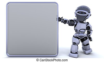 cute robot cyborg - 3D render of a robot and blank sign