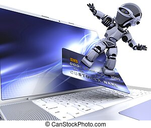 cute robot cyborg - 3D render of a robot and charge card