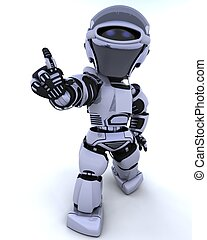 cute robot cyborg - 3D render of a robot introducing or ...