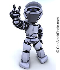 cute robot cyborg - 3D render of a robot presenting peace...