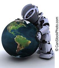 cute robot cyborg - 3D render of a robot embracing earth