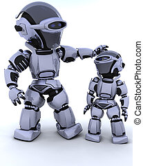 cute robot cyborg with child - 3D render of a robot and...