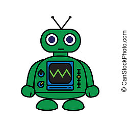 Cute Robot - Little Green Robot