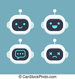 Cute robot face set