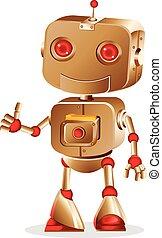 cute robot gesturing