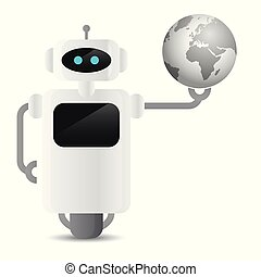 cute robot holding earth globe in his hand