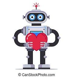 Cute robot holds a heart. mechanism in love.