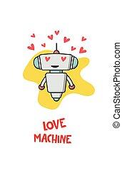 Cute robot in love
