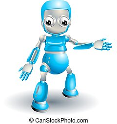 Cute robot pointing out something