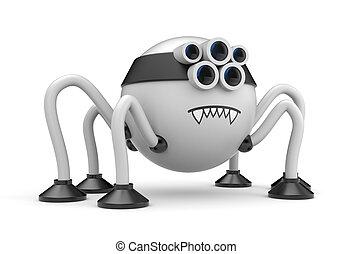 Cute robot spider. Cartoon character