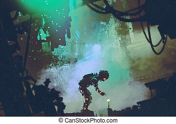 cute robot touching flower in ruined city,illustration...