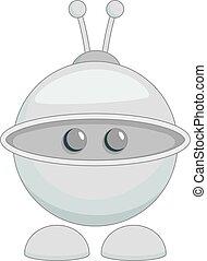 Cute robot toy icon monochrome