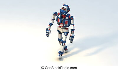 Cute robot toy is a funny gait. 3d render looped animation