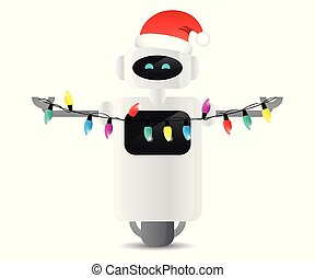 cute robot with christmas fairy lights and santa hat