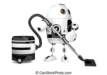 Cute Robot with vacuum cleaner. Isolated. 3D illustration. Contains clipping path
