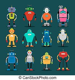 Cute robots icons big set