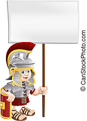 Cute Roman soldier holding sign boa