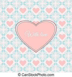 Cute romantic card with heart