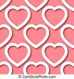 Cute romantic paper cut hearts on pink background seamless border pattern. Saint Valentine Day vector repeatable background texture tile. Cozy craft template of stock illustration for wrapping design