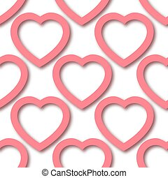 Cute romantic pink paper cut hearts on white background seamless border pattern. Saint Valentine Day vector repeatable background tile. Cozy template of stock illustration for wrapping design